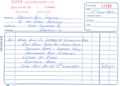 """Invoice from Darb Construction for renovations on the """"Cottage"""""""