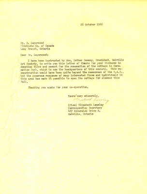 Letter of thanks to Flintkote Company of Canada Ltd. from Oakville Art Society