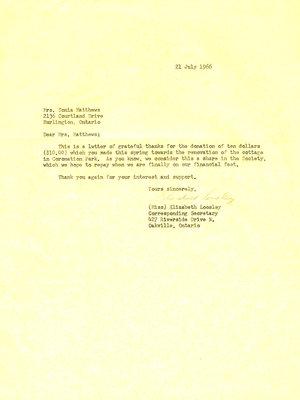 Letter of thanks to Mrs. Sonia Matthews from Oakville Art Society