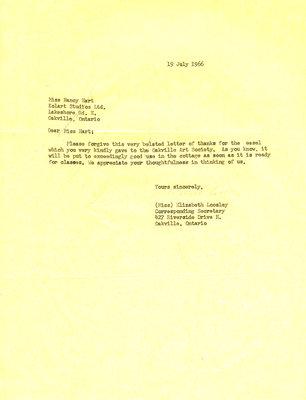 Letter of thanks to Miss Nancy Hart from Oakville Art Society