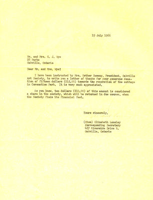 Letter of thanks to Mr. and Mrs. E. J. Wye from the Oakville Art Society