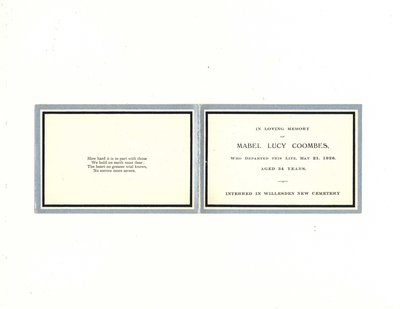 Funeral card for Mabel Lucy Coombes