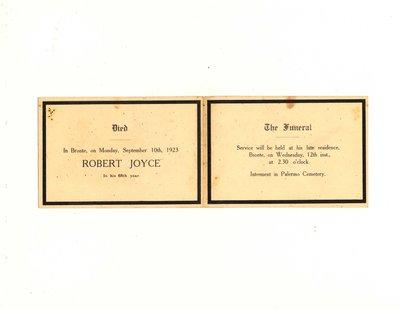 Funeral card for Robert Joyce