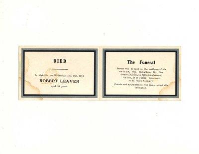 Funeral card for Robert Leaver
