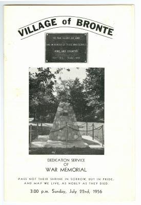 Village of Bronte: Dedication Service of War Memorial