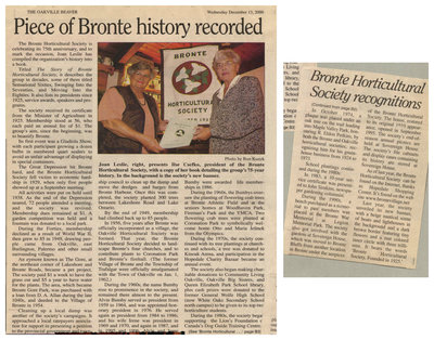 Piece of Bronte history recorded, Oakville Beaver, 13 Dec 2000