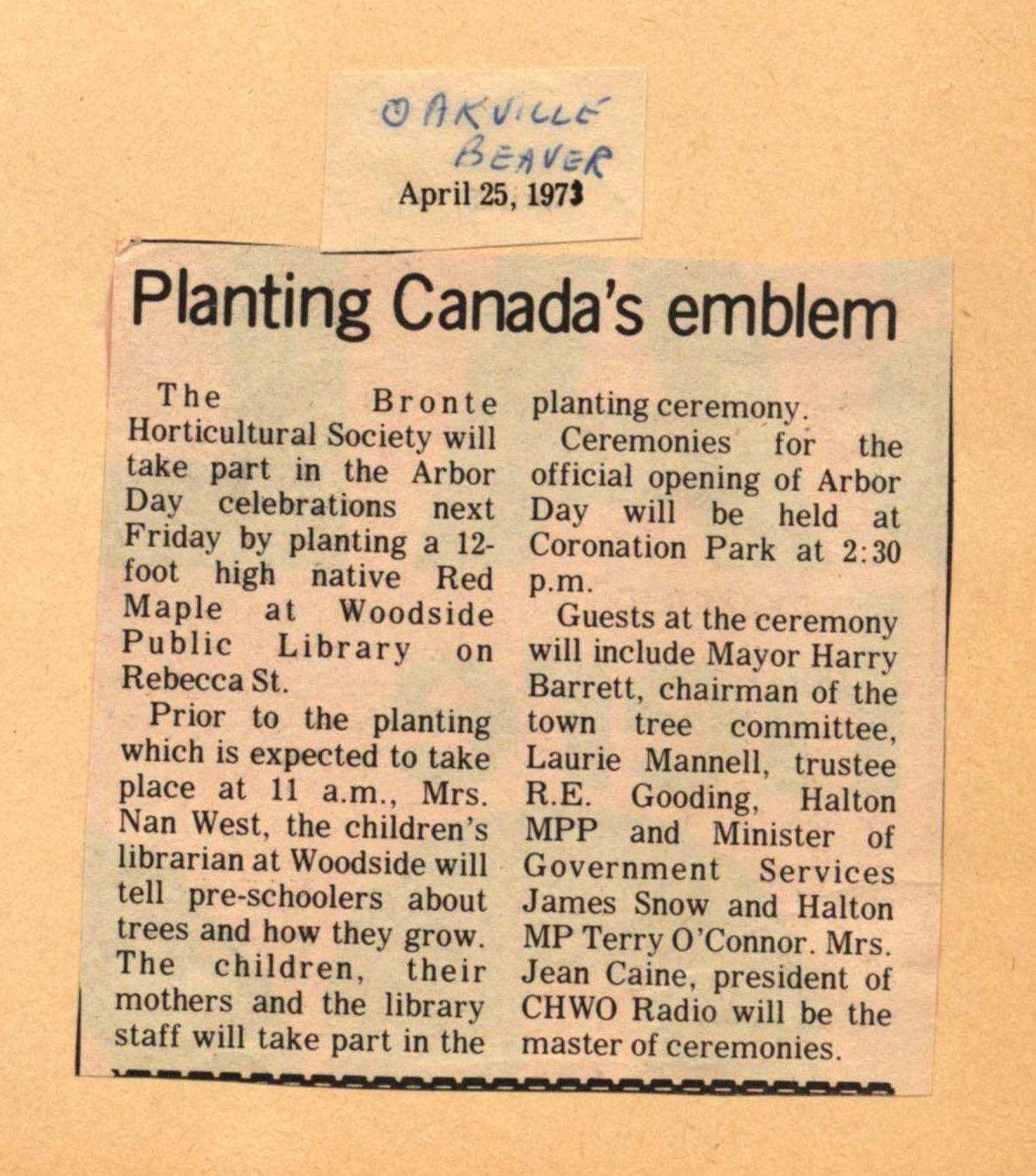 Planting Canada's emblem