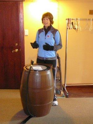 Halton Region staff promoting rain barrels