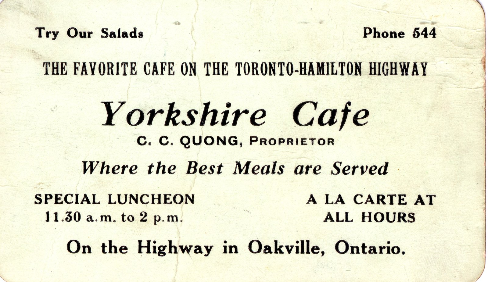 Yorkshire Cafe Business Card