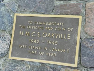 Plaque on HMCS Oakville Cairn