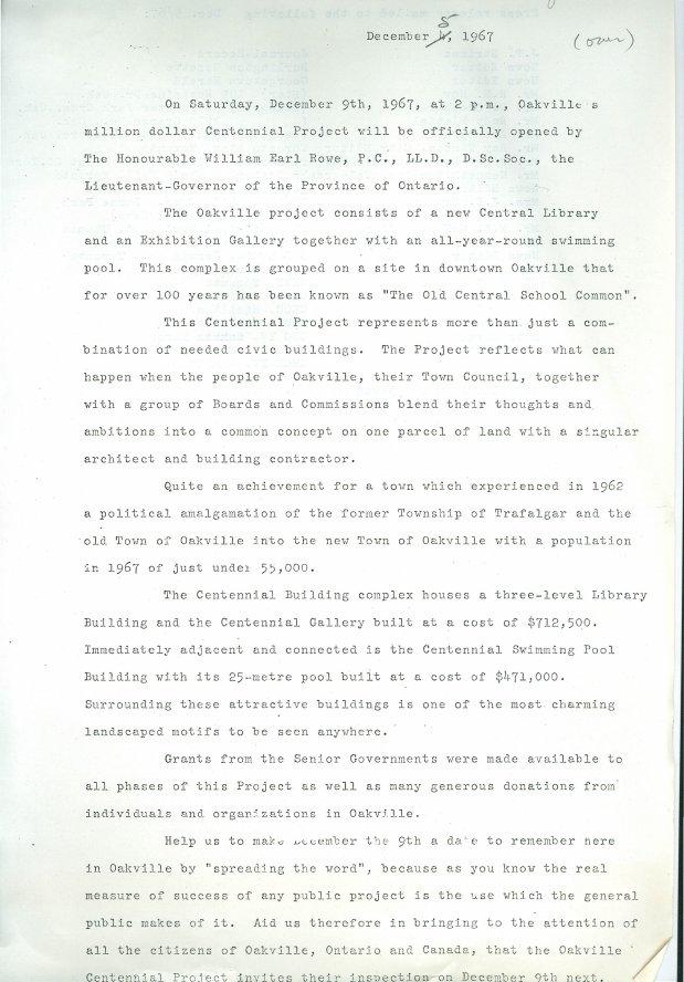 Oakville Centennial Centre Press Release