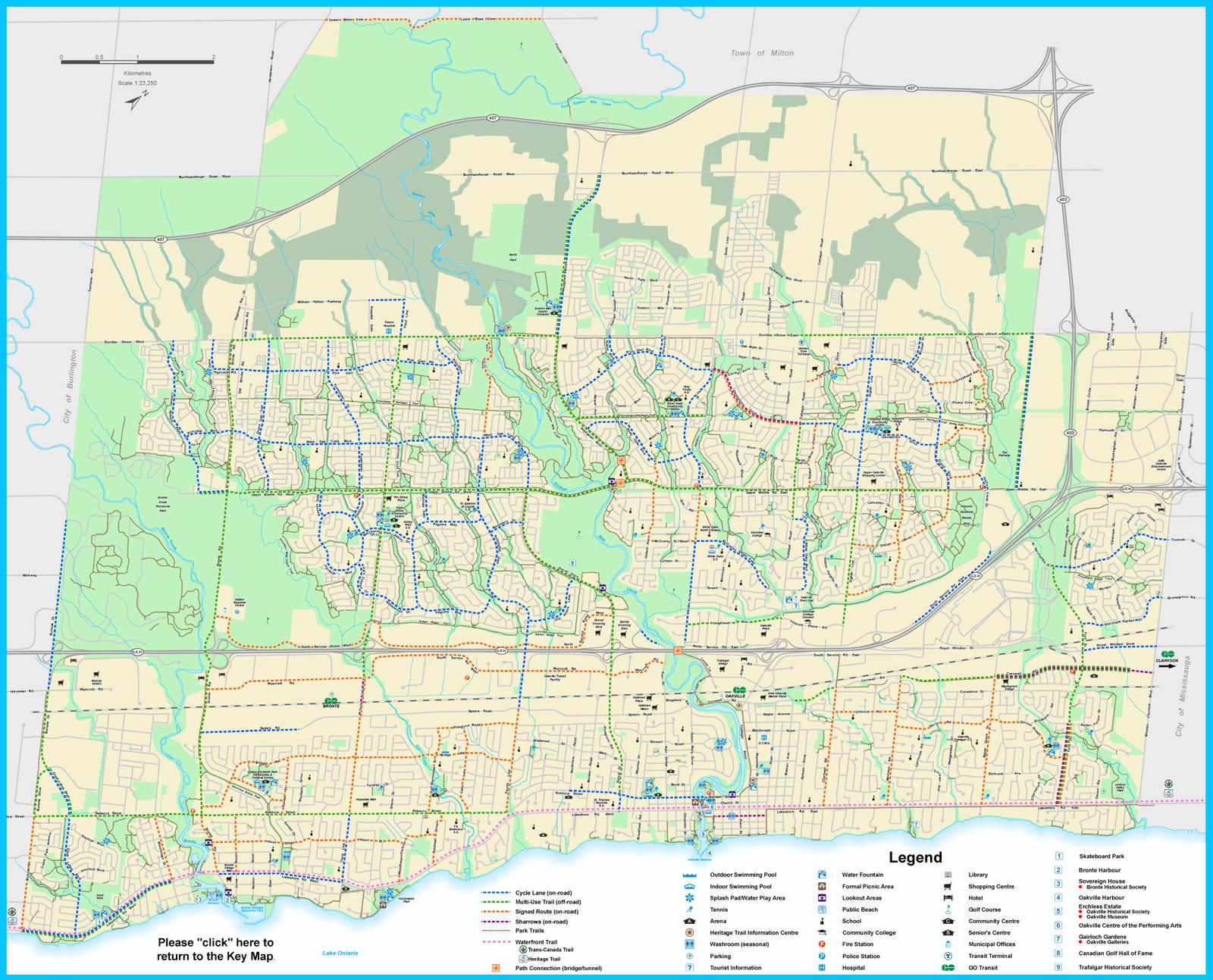 Oakville Cycleways Map 2018