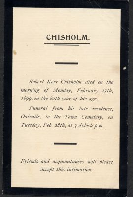 Death notice of Robert Kerr Chisholm