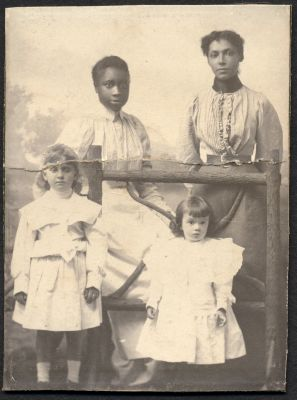 Hazel with a friend and family servants (1897-1899)