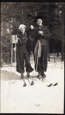 Hazel and friend skiing