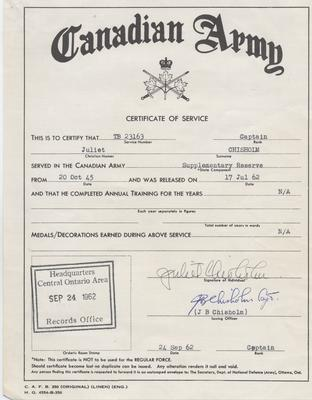 Juliet Chisholm's Certificate of Service with the Canadian Army