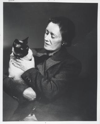 Hazel Chisholm Mathews with one of her many Siamese cats