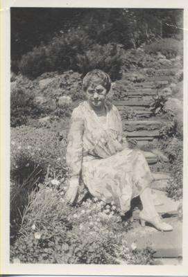 Emelda Beeler Chisholm on the grounds of Erchless Estate