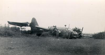 Wellington aircraft crashed during training of air force personnel at Honeybourne, England, during the Second World War.