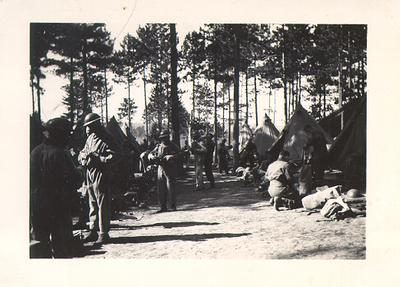 Canadian soldiers in camp during advanced training before going overseas, Petawawa, Ontario, c. 1943.