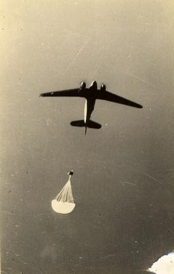 Plane parachuting supplies during training of the First Special Service Force in Helena, Montana, c. 1942-1943