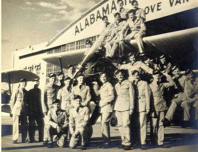 """Handel Johnson (third from right, first row) on Royal Air Force training in Alabama with """"Boeing P.T. Stearman."""""""