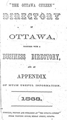Directory of Ottawa ... 1863