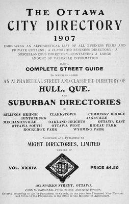 1907 Ottawa City Directory