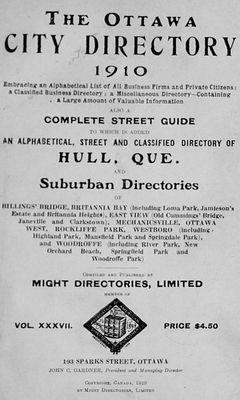 1910 Ottawa City Directory