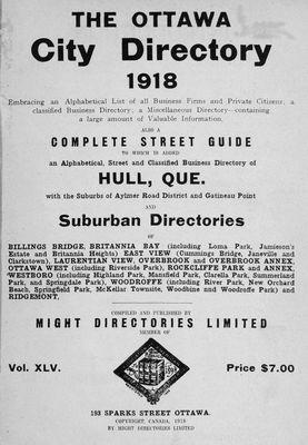 1918 Ottawa City Directory