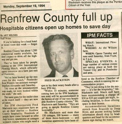 Renfrew County full up