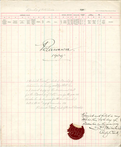 1909 Assessment Roll for the Township of Petawawa