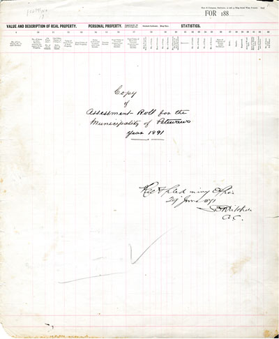 1891 Assessment Roll for the Township of Petawawa