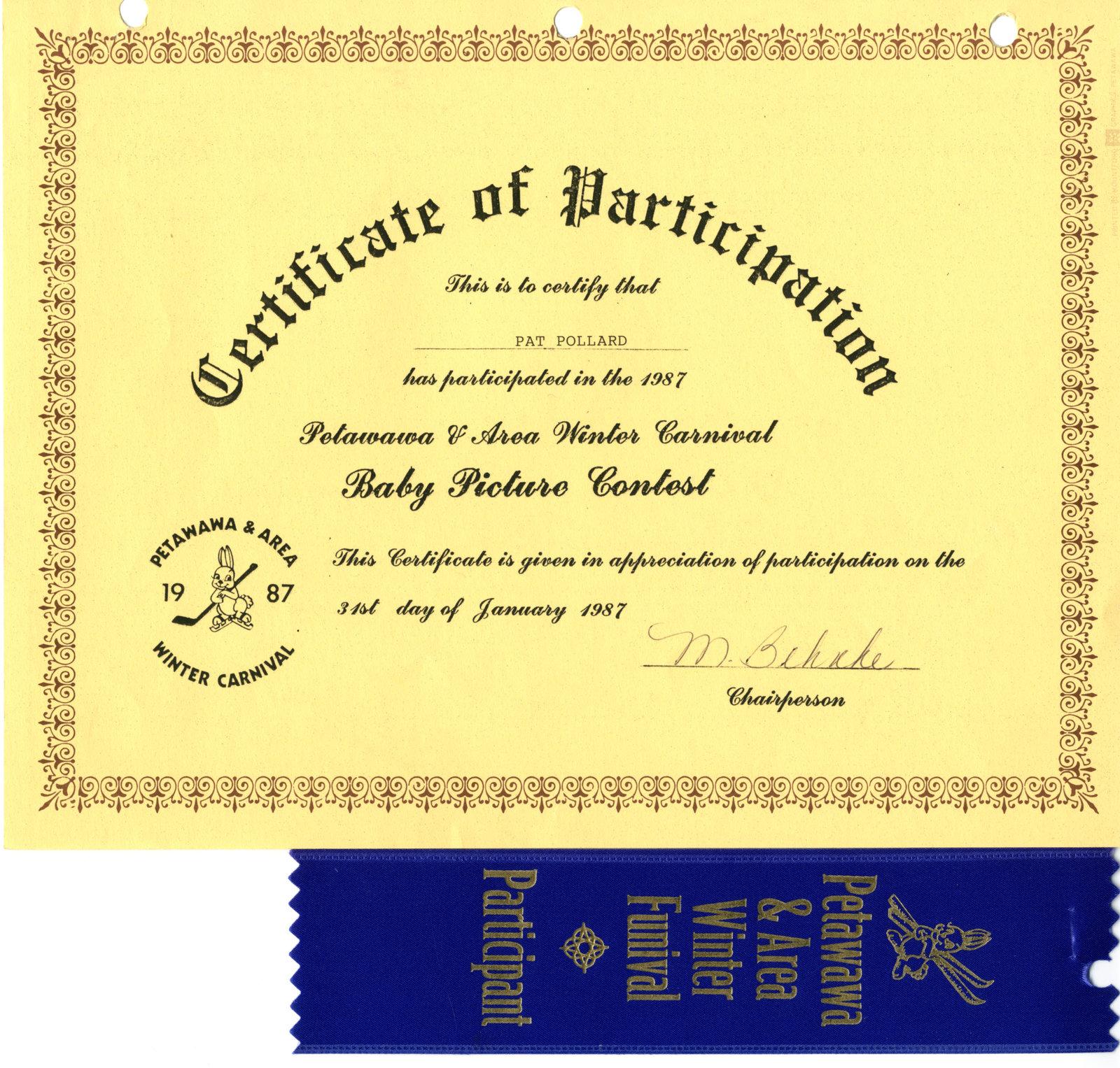 Certificate of Participation to Pat Pollard in the Petawawa & Area 1987 Winter Carnival.