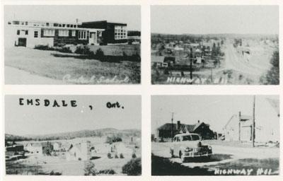 Postcard of Central School, Highway #11, Emsdale, ON