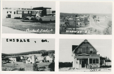 Composite Photographic Postcard of the Central School, Highway #11, Emsdale Ontario, and a House