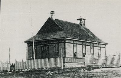 Postcard of a Schoolhouse in Emsdale, Ontario, circa 1900