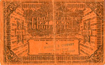Large Orange Good Will Gift Token for Wardell & Company, Huntsville