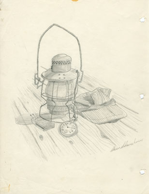 Pencil Sketch of a Lantern and Train Engineer's Cap, 1978