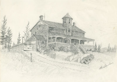 Pencil Sketch of a Stone House, 1978