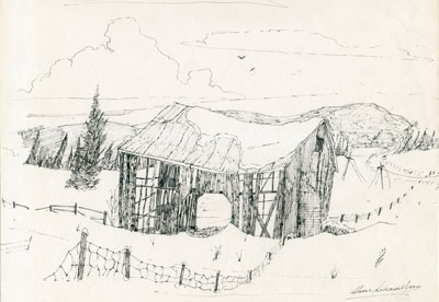 Sketch of Snow-Covered Abandoned Barn