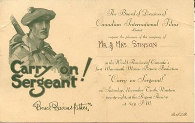 """""""Carry on Sergeant"""" - Invitation to the World Premiere"""