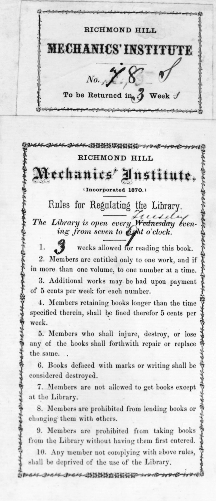 Book borrowing receipt with rules for regulating the library