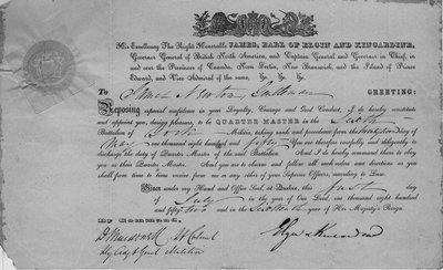 Certificate of appointment of James Newton as Quarter Master in the 6th Battalion of York Militia