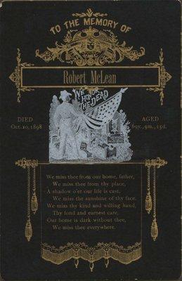 Memorial card of Robert McLean