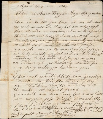 Letter of Abraham Wright