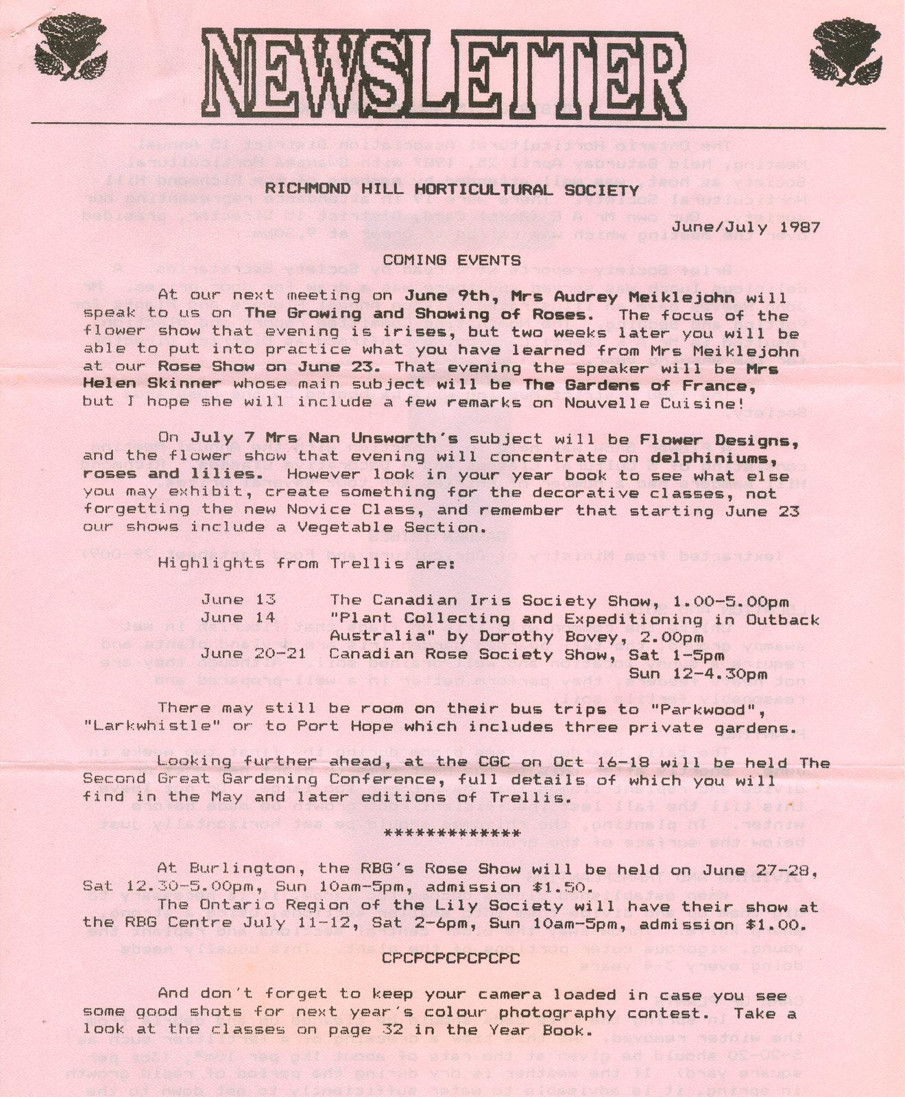 1987 June/July newsletter