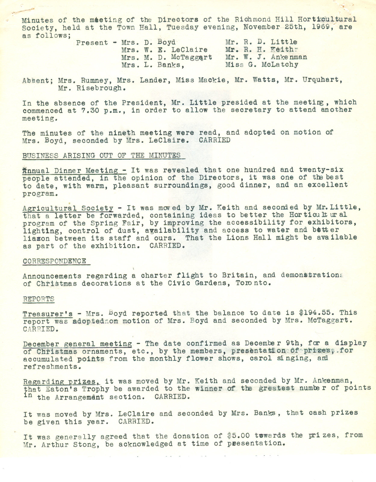 Minutes of the meeting of the Directors of the Richmond Hill Horticultural Society