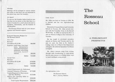 The Rosseau School: A Preliminary Prospectus