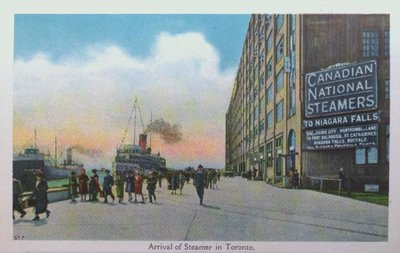 Souvenir view of St. Catharines & Port Dalhousie: Arrival of a Steamer in Toronto